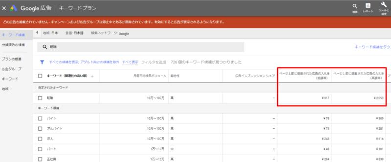 Google キーワードプランナー 転職 価格
