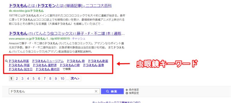 Yahoo!検索エンジンの虫眼鏡キーワード